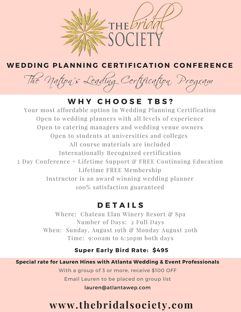 The Bridal Society Wedding Planning Certification 2 Day Conference