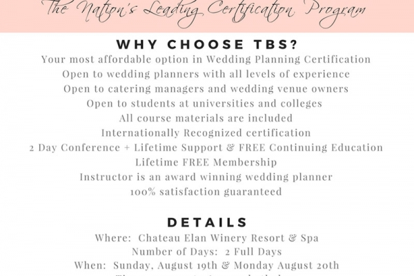 The Bridal Society Wedding Planning Certification 2-Day Conference - Chateau Elan